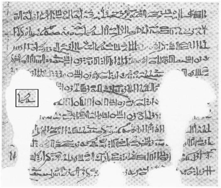 El recuadro marca el nombre de Horus dentro del papiro.