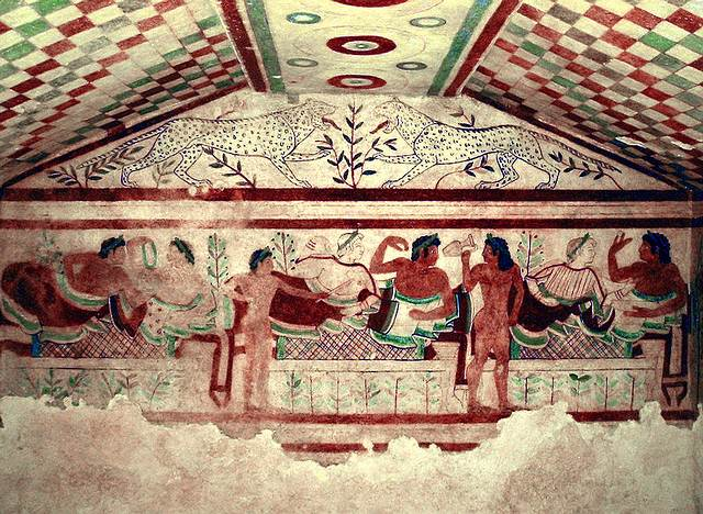 Ejemplo de arte funerario etrusco. Tumba de los leopardos en la necrópolis de Monterozzi.