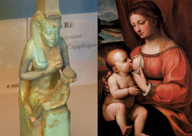 Izquierda: Isis amamantando a Horus, Museo del Louvre. Derecha: La Virgen María amamantando al niño Jesús, por Bernardino Luini, 1520.