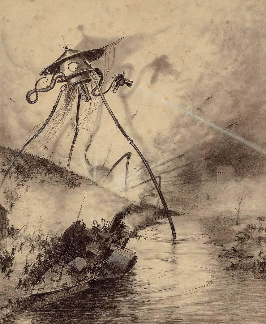 Dibujo original de Henrique Alvim Corrêa incluido en la versión de 1906 de la famosa novela de H.G. Wells.