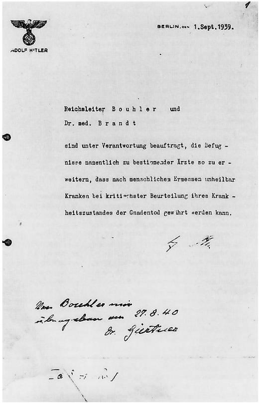 Carta de Hitler encargando la puesta en marcha del programa de «muerte piadosa».