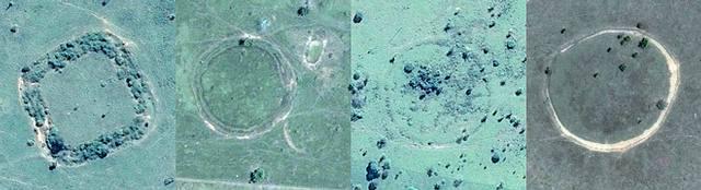 Un geoglifo cuadrado del Amazonas y tres con forma circular captados desde el espacio por satélites.