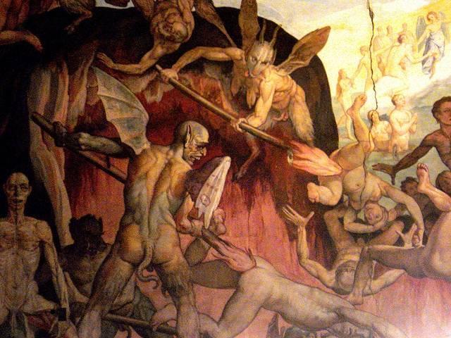 Demonios persiguen a los condenados en este fresco de Federico Zuccaro.
