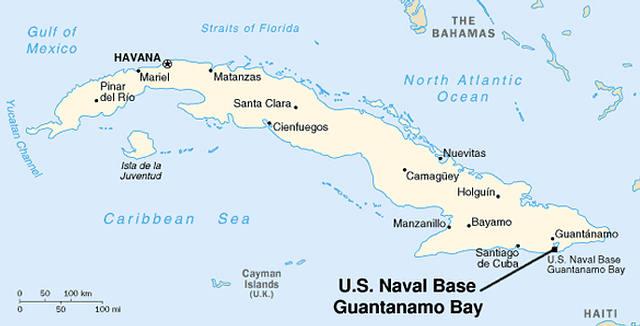 Ubicación de la Base Naval de la Bahía de Guantánamo.