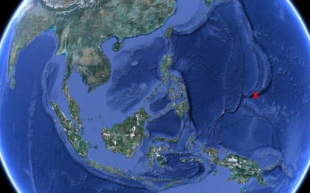 Ubicación de la Fosa de las Marianas. Imagen: Google Earth.