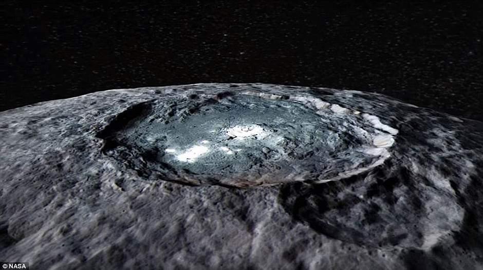 Esta imagen del cráter Occator en falso color muestra las diferencias en la composición de la superficie.