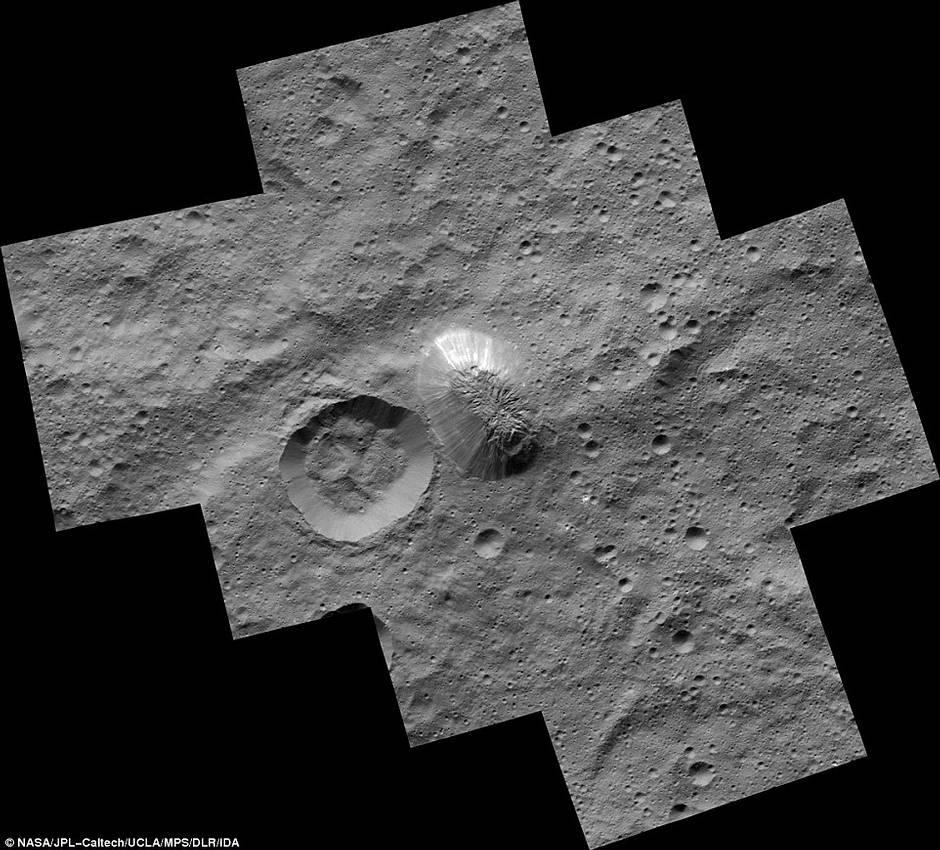 La «pirámide» que se erige en el planeta enano Ceres.