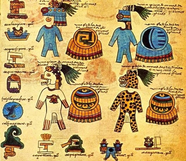 Representación de trajes y armaduras de guerra azteca. Códice Mendoza.