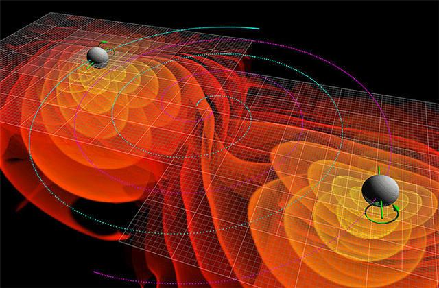Simulación de dos agujeros negros orbitándose entre sí en la espiral de una inevitable colisión.