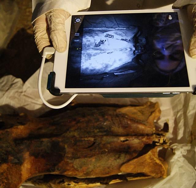 La antropóloga Ghada Darwish Al-Khafif se vale del infrarrojo para examinar los tatuajes en la espalda de la momia.
