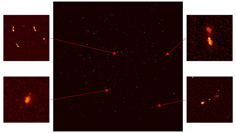 Cada punto blanco en la imagen de «primera luz» de MeerKAT representa una galaxia en el universo distante. En una esquina, los científicos han podido identificar un agujero negro masivo que está arrojando chorros de electrones a velocidades cercanas a la velocidad de la luz.