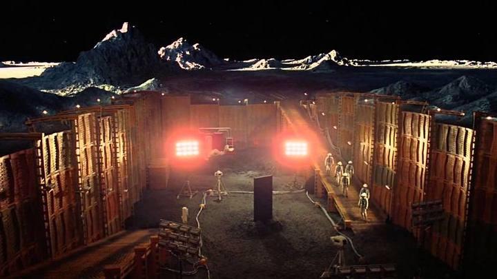 Set de la Luna en la película '2001: Una Odisea del Espacio', de Stanley Kubrick.
