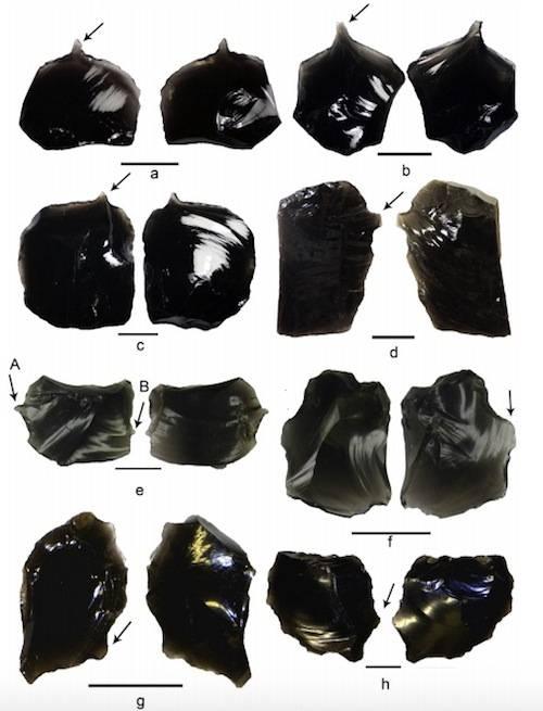 15 artefactos de obsidiana hallados en el sitio de Nanggu, Islas Salomón.