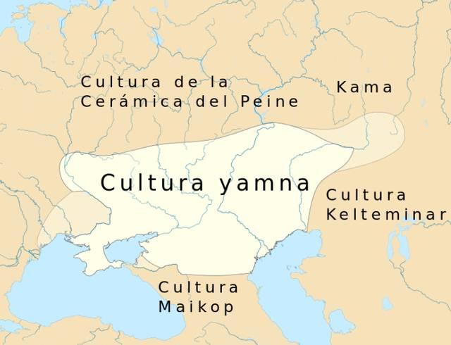 Mapa que muestra la ubicación de la cultura yamna en el 3500 a.C. en el Viejo Mundo.
