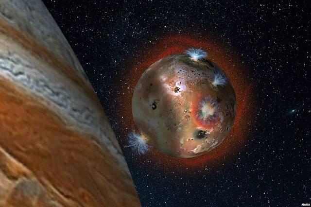 La atmósfera desaparece al comenzar el eclipse y reaparece cuando Ío sale de la sombra de Júpiter.