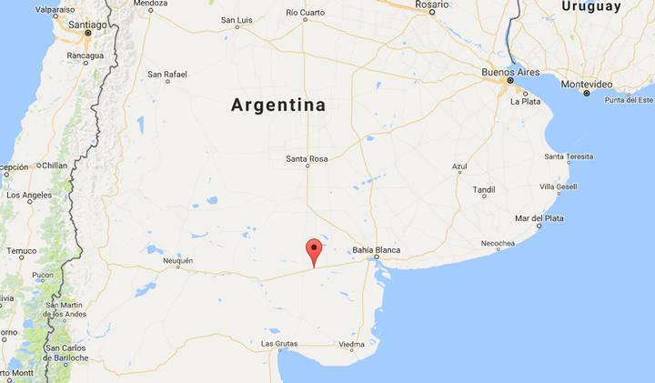 Ubicación de la localidad de La Adela, La Pampa, Argentina.