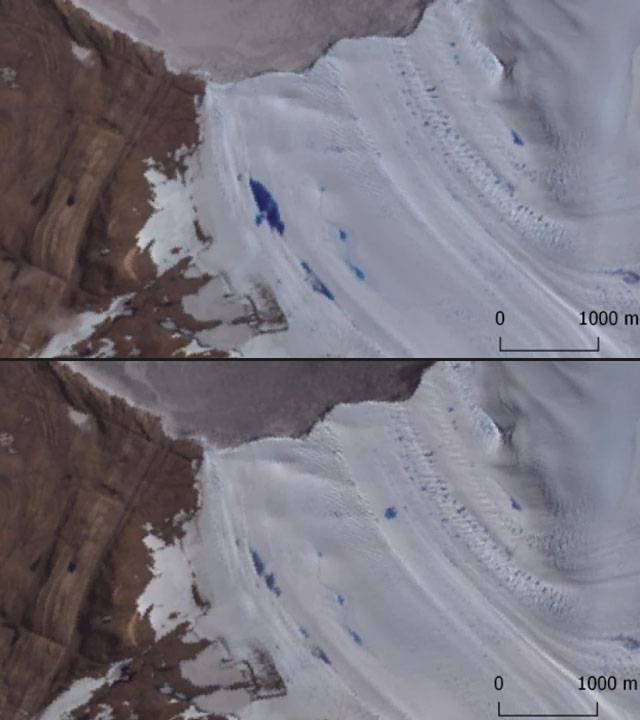Drenaje de algunos de los lagos supraglaciares durante un periodo de 12 días, entre el 14 (arriba) y el 26 (abajo) de enero de 2005.