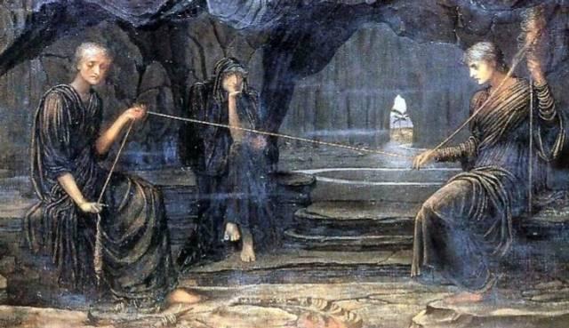 Las Parcas. En griego se llamaban: Cloto, Láquesis y Átropos.