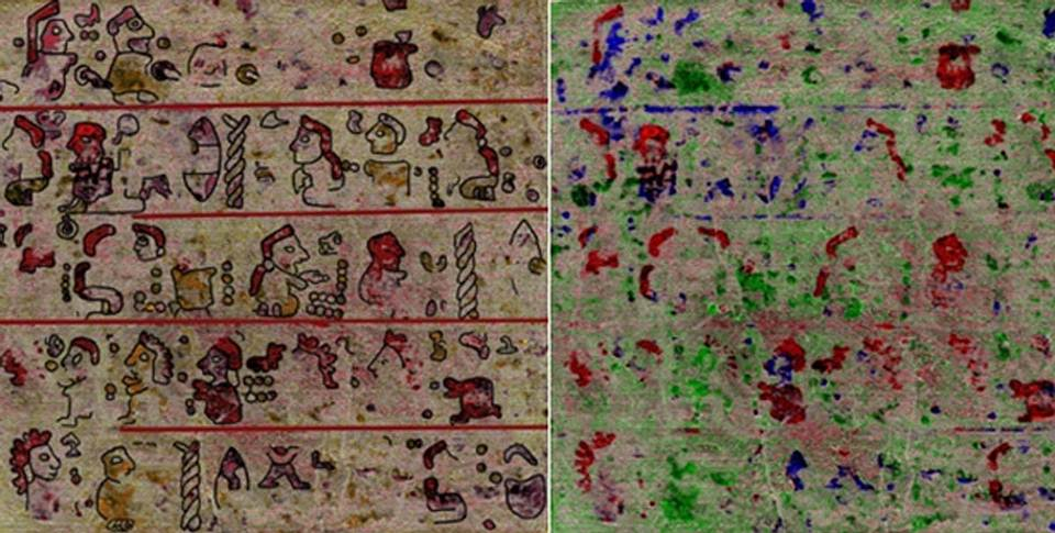 Página 10 del códice redescubierto, con la reconstrucción de las imágenes a la izquierda. Crédito: Universidad de Leiden.