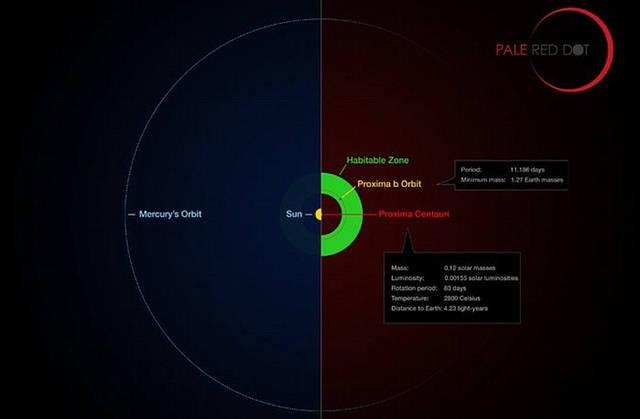 Comparación de la órbita de Próxima b con una región de similar tamaño en el Sistema Solar.