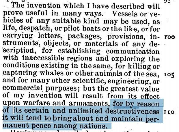 Tesla escribió en su patente de los drones que vehículos no tripulados traerían paz al mundo al asegurar una destrucción mutua.