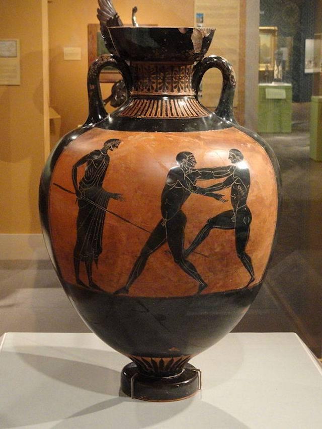 Ejemplo de ánfora panatenaica, similar a las halladas junto al «atleta de Tarento».