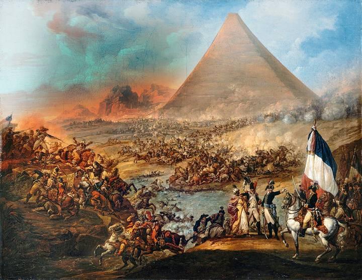 Este óleo, de Louis-Joseph François, recrea la batalla entre las tropas de Napoleón y las fuerzas mamelucas en 1798. Museo de Bellas Artes, Valenciennes.