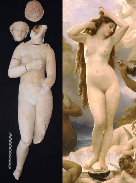 Izquierda: Una de las estatuas de Afrodita halladas en Petra. Derecha: 'El nacimiento de Venus (Afrodita)', de William-Adolphe Bouguereau, 1879.