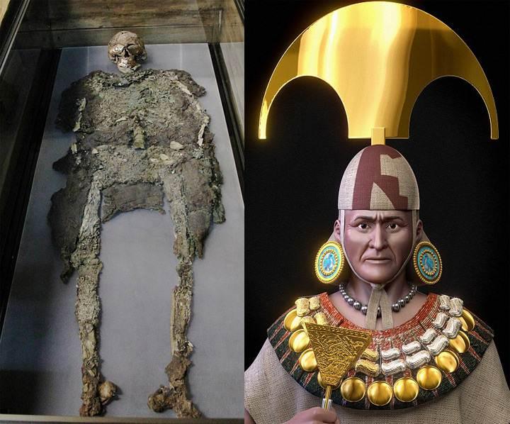 Restos del Señor de Sipán (izquierda). Reconstrucción con atuendo real (derecha).