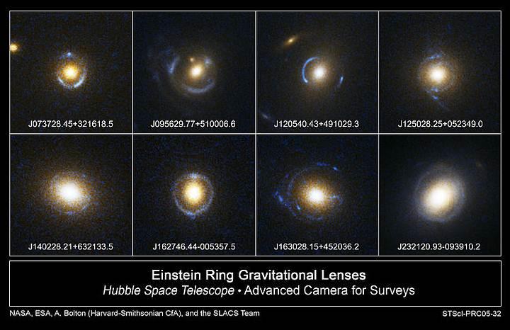 Anillos de Einstein vistos por el Telescopio Espacial Hubble.