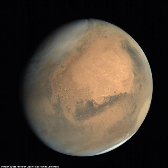 Imagen de Marte publicada recientemente por la Agencia India de Investigación Espacial.