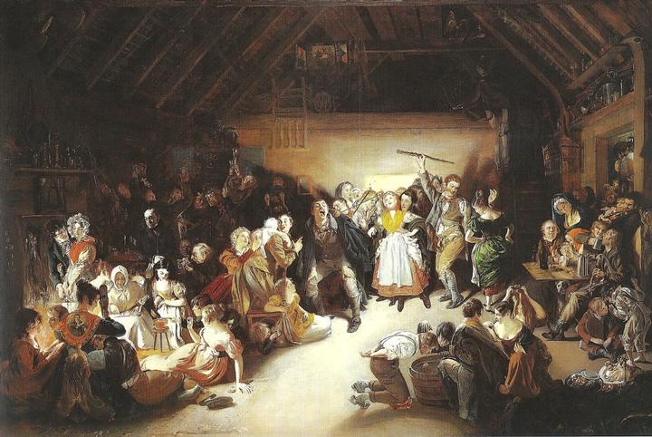 Esta pintura de Daniel Maclise, 1833, fue inspirada por una celebración de Halloween a la que el propio artista asistió en Blarney, Irlanda.