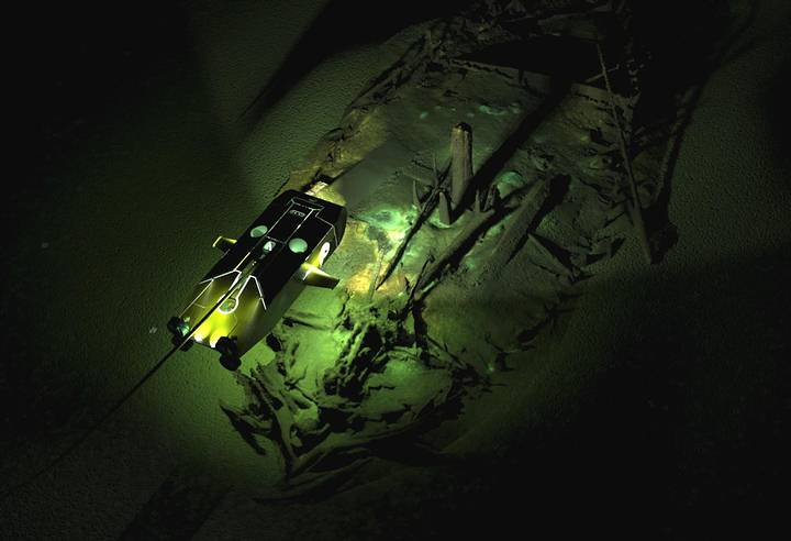 Modelo fotogramétrico de un naufragio de época bizantina, descubierto a 95 metros de profundidad.