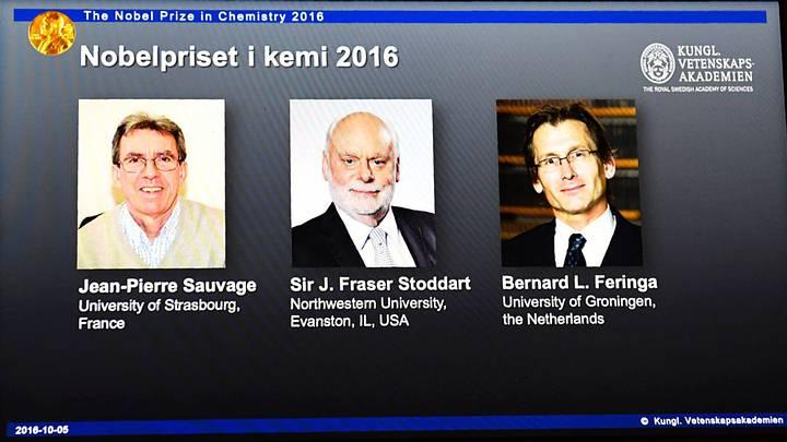 Los ganadores del premio Nobel de Química 2016.