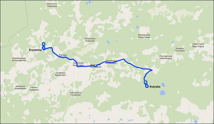 Distancia entre las pisadas halladas (en Eryomino) y el lugar del avistamiento de Shadrin (en Kulyaba).