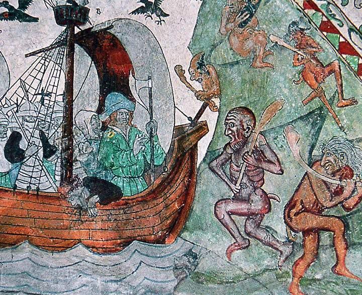Olaf II navegando entre trolls. Pintura sobre piedra en la iglesia de Dingtuna, Suecia.