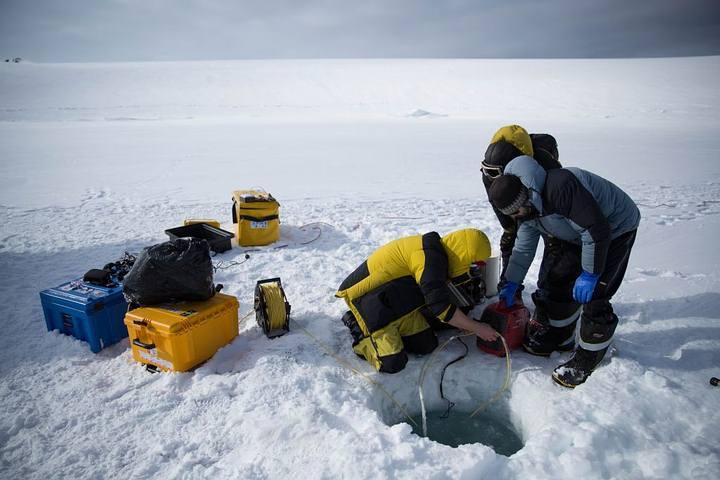 Científicos taladrando el hielo antártico para crear la apertura por la que luego descenderá el ROV. (Foto: Dominic Hall).