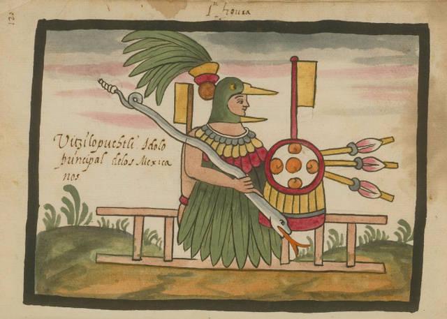 Huitzilopochtli en forma humana. Códice Ramírez.