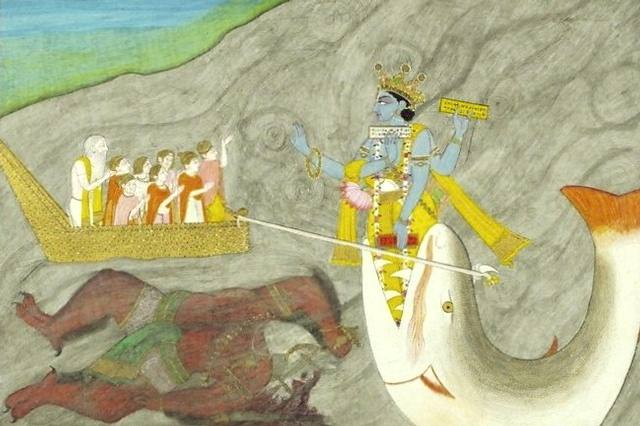 «Matsya Avatar» (ca 1870), pintura de Uttar Pradesh (India), actualmente en el museo V&A de Londres.