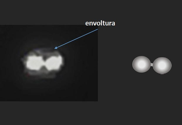 El video en infrarrojo muestra dos puntos calientes conectados. Esta imagen es parte del análisis del ovni hecho por el astrofísico Luis Barrera.