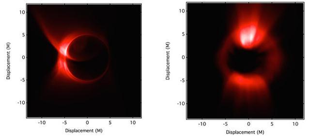 Simulaciones hechas por el equipo del Telescopio del Horizonte de Sucesos (EHT).