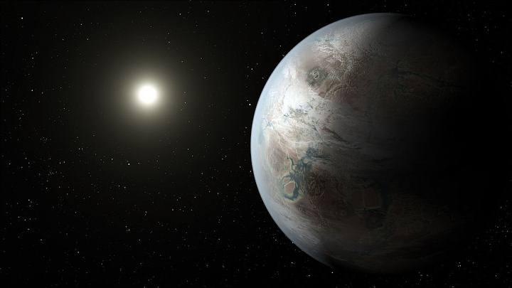 La NASA ha utilizado esta ilustración de Kepler-452b en su aviso sobre la conferencia. Este mundo, a 1400 años luz de distancia, es el primer cuerpo planetario cuya existencia ha podido ser confirmada que cuenta con unas dimensiones similares a las de la Tierra y que orbita dentro de la zona de habitabilidad de una estrella semejante al Sol.