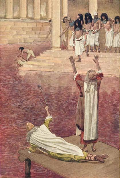 «Y Moisés y Aarón hicieron como Yahvé lo mandó; y alzando la vara golpeó las aguas que había en el río, en presencia del Faraón y de sus siervos; y todas las aguas que había en el río se convirtieron en sangre. Asimismo los peces que había en el río murieron; y el río se corrompió, tanto que los egipcios no podían beber de él» (Éxodo 7,20-21).