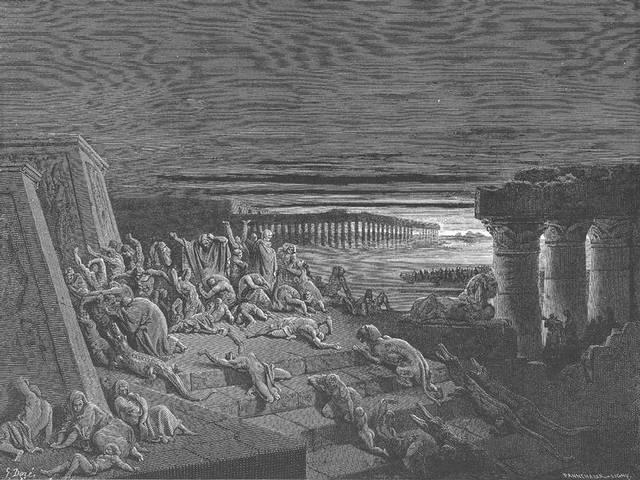 «Y extendió Moisés su mano hacia el cielo, y hubo densas tinieblas sobre toda la tierra de Egipto, por tres días. Ninguno vio a su prójimo, ni nadie se levantó de su lugar en tres días; mas todos los hijos de Israel tenían luz en sus habitaciones» (Éxodo 10,22-23).