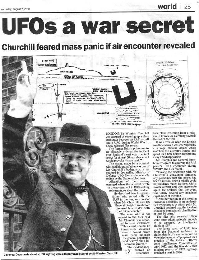 A pesar de su interés por el tema, Churchill ocultó información sobre los ovnis en la Segunda Guerra Mundial.