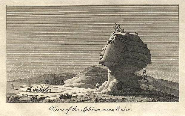Dominique Vivant Denon. Midiendo la Gran Esfinge de Guiza (1798).