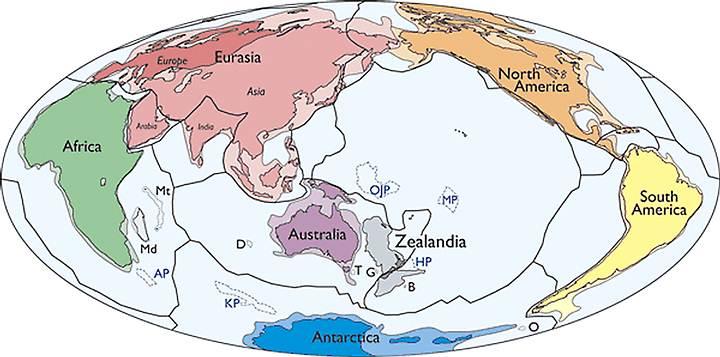 Zelandia, resaltada en gris en este mapa, podría ser el séptimo continente geológico del planeta.