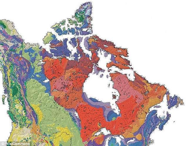 El Escudo Canadiense (en rojo).