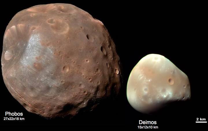 Fobos y Deimos, las lunas de Marte.
