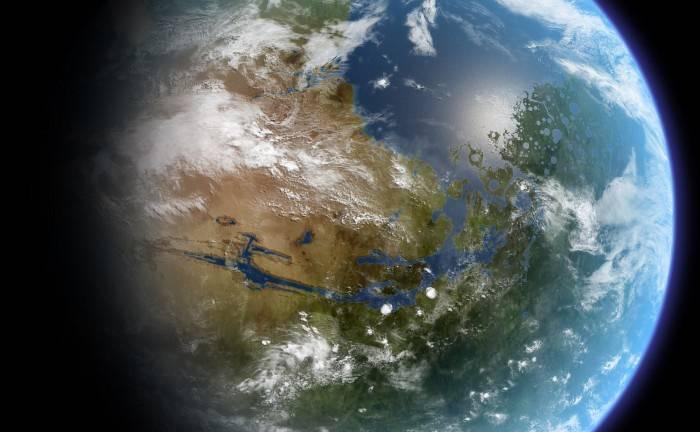 Recreación artística de un Marte completamente terraformado.